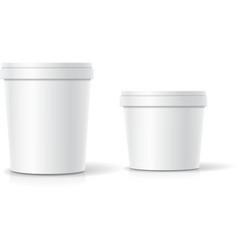 Set of blank plastic bucket container vector
