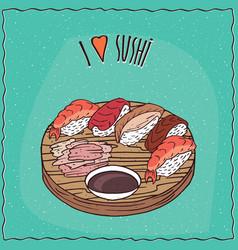 set of different sushi rolls nigiri vector image