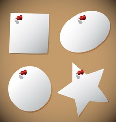Set of note paper with pin vector image