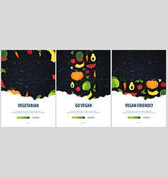 set of vegetarian banners hand-draw doodle vector image