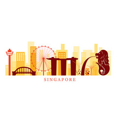 Singapore architecture landmarks skyline shape vector