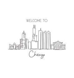 single continuous line drawing chicago city vector image