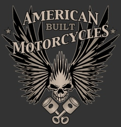 Skull Wings and Pistons Motorcycle vector