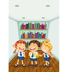 Three kids wearing their school uniforms vector