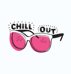 Trendy sunglasses with pink glasses and chill out vector