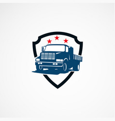 Truck secure logo template designs for business vector