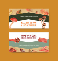 twitter template with autumn daily concept design vector image