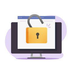 Unlocked web access online computer with open vector