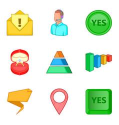 Version icons set cartoon style vector