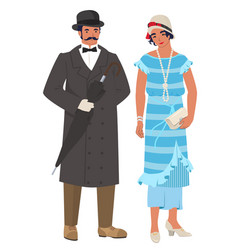 Victorian couple lady and gentleman flat vector