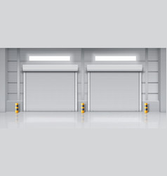 Warehouse interior with closed gates vector