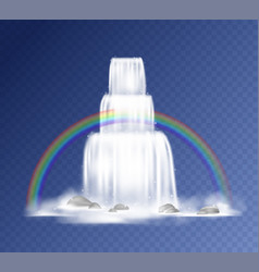 Waterfall realistic falling water with fog vector