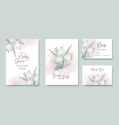 wedding card template flower watercolor hand paint vector image