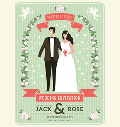 Wedding invitation background happy groom couple vector