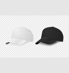 white and black baseball cap icon set design vector image