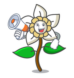 With megaphone jasmine flower character cartoon vector