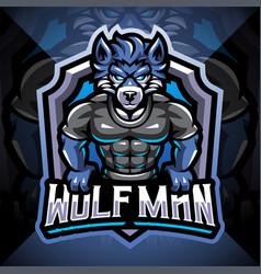 wolf man esport mascot logo design vector image