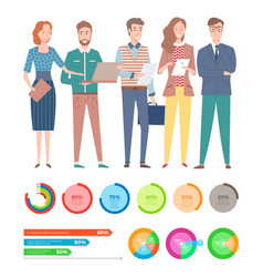 workers character diagrams and charts vector image