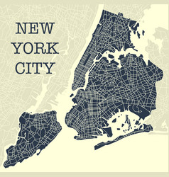 yellow and blue ny map vector image