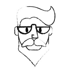 blurred silhouette front face caricature old man vector image vector image