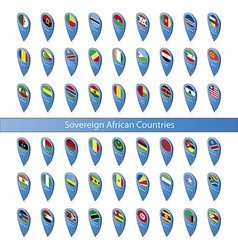 Pin flags of the Sovereign African Countries vector image