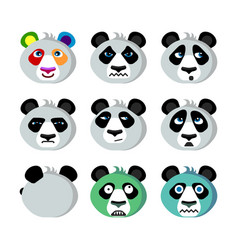 Smile icons emoticons panda vector