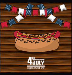 Usa independence day card with fast food vector