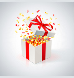 white gift box with red ribbon and golden confetti vector image vector image