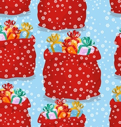 Bag with gifts seamless pattern Christmas vector image