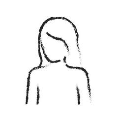 monochrome blurred silhouette of female half body vector image