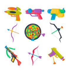 set of water pistol bow crossbow darts vector image