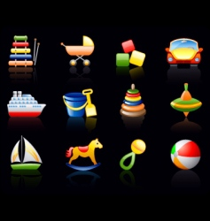 toys black background icon set vector image vector image