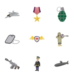 Weaponry icons set cartoon style vector image vector image