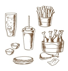 Fast food snacks and drinks sketch icons vector image vector image