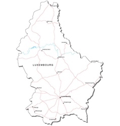 Luxembourg Black White Map vector image