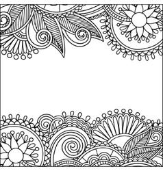 vintage floral ornamental black and white card vector image