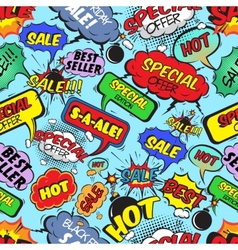 Comic bubbles seamless sale vector image