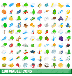 100 viable icons set isometric 3d style vector image