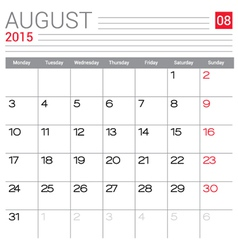 2015 August calendar page vector image