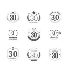 30 years anniversary logo set 30th anniversary vector image