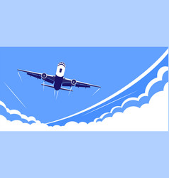 Airplane flying over clouds flat design vector