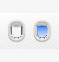 airplane open window plastic and glass plane vector image