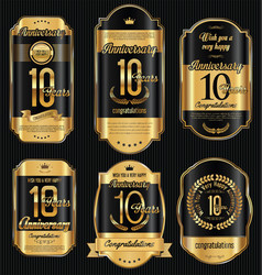 Anniversary golden retro vintage labels vector