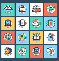 Artificial intelligence flat icons set vector