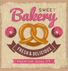 bakery poster design bread and donuts with vector image