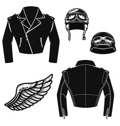 Biker jacket motorcycle helmet wings design vector