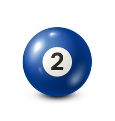 Billiardblue pool ball with number 2snooker vector