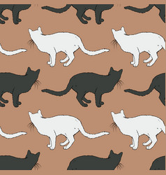black and white cat seamless pattern vector image
