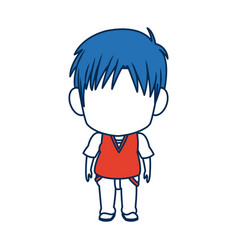 Boy anime male manga cartoon comic blue hair vector
