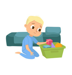 Boy in pajamas playing toys kids pastime before vector